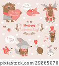 Valentine set of fun animals with hearts and 29865078