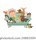 Old woman with her cats and dogs 29865094