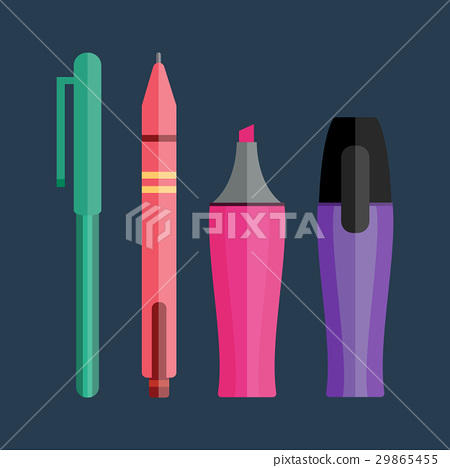 Paint and writing tools collection flat style 29865455