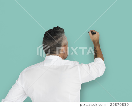 Businessman Writing Vision Strategy Planning 29870859