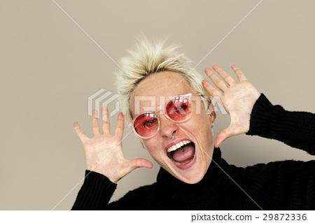Caucasian Blonde Woman Shouting Positive 29872336