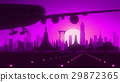 Bangkok Airplane Landing Skyline Purple Violet 29872365