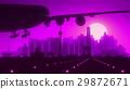 Beijing China Airplane Landing Skyline Purple 29872671