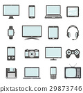 Modern digital devices, electronic gadgets icons 29873746