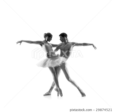 Couple of ballet dancers isolated on white. Black and white 29874521