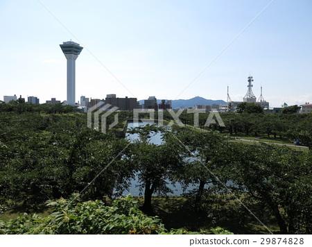 Goryokaku Tower and Hakodateyama seen from the top of Goryokaku no. 29874828