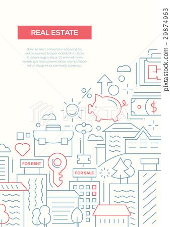 Real Estate - line design brochure poster template 29874963