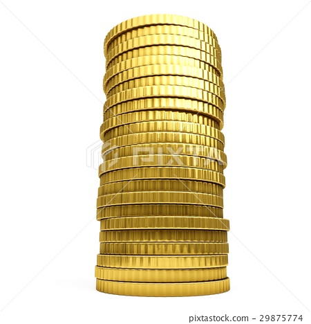 3D rendering gold coins on white background 29875774