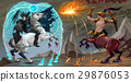 Fighting scene between dark elf and centaur 29876053