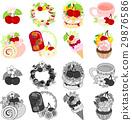 케이크와 차와 롤 케이크와 아이스크림 등의 체리 스위트 아이콘 29876586