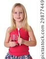 Portrait of a cute little girl brushing teeth 29877449