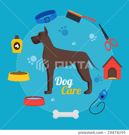 Cartoon Dog Care Concept. Vector 29878295