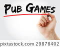 Hand writing Pub games with marker 29878402