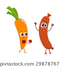 Funny food characters, carrot versus sausage 29878767