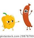 Funny food characters, pepper versus sausage 29878769