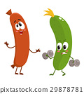 Funny food characters, zuccini versus sausage 29878781
