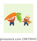 Funny farmer characters harvesting vegetables 29879045