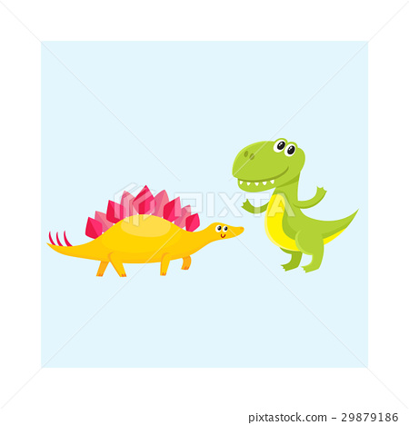 Two cute and funny baby dinosaur characters - 29879186