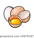 Whole and cracked, broken chicken egg with yolk 29879387