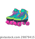 Pair of vintage, retro quad roller skates, sketch 29879415