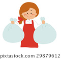 A woman holding a garbage bag 29879612
