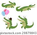 Friendly Cartoon Crocodiles Illustrations Set 29879843