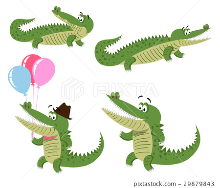 Friendly Cartoon Crocodiles Illustrations Set 29879843