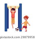 Two boys playing football and hanging on monkey 29879958