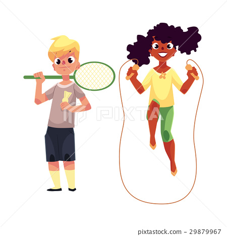 Boy and girl with jumping rope, badminton racket 29879967