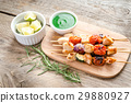 Grilled chicken skewers with zucchini and tomatoes 29880927