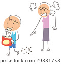 A boy walking while dropping snacks of sweets 29881758