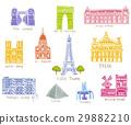Paris city sights illustrations 29882210