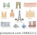 Paris city sights illustrations 29882211
