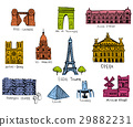 Paris city sights illustrations 29882231