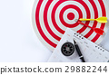 calendar with pen and compass, red target and dart 29882244