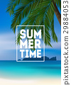 Summer tropical background with palms, sea and 29884053