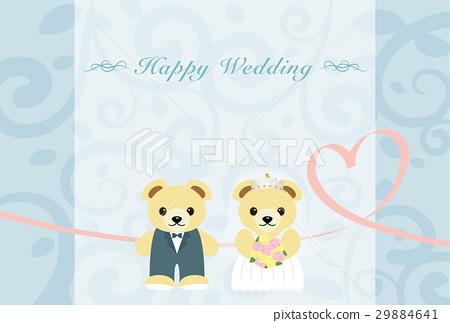 웨딩 곰 인사말 카드 29884641