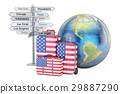 USA travel concept. Suitcases with US flag 29887290