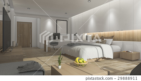 white nice bedroom with comfortable furniture  29888911