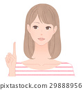 A woman pointing to a finger 29888956