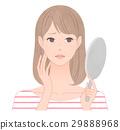 鏡を見て悩む女性 シワ 29888968