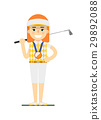Young woman golfer with golf club 29892088