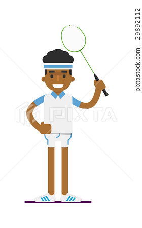 Young black man badminton player with racket 29892112