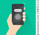 Hand with smartphone unlocked with fingerprint and 29892312