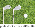Golf club and Golf ball on green grass 29892684