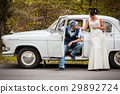 retro wedding car 29892724