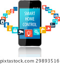 Smart phone technology with cloud of colorful app 29893516