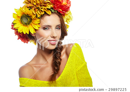 young beautiful woman portrait with wreath of flowers studio sho 29897225