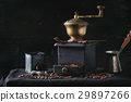 Roasted coffee beans over black 29897266