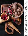 Chocolate ice cream with raspberries 29897291